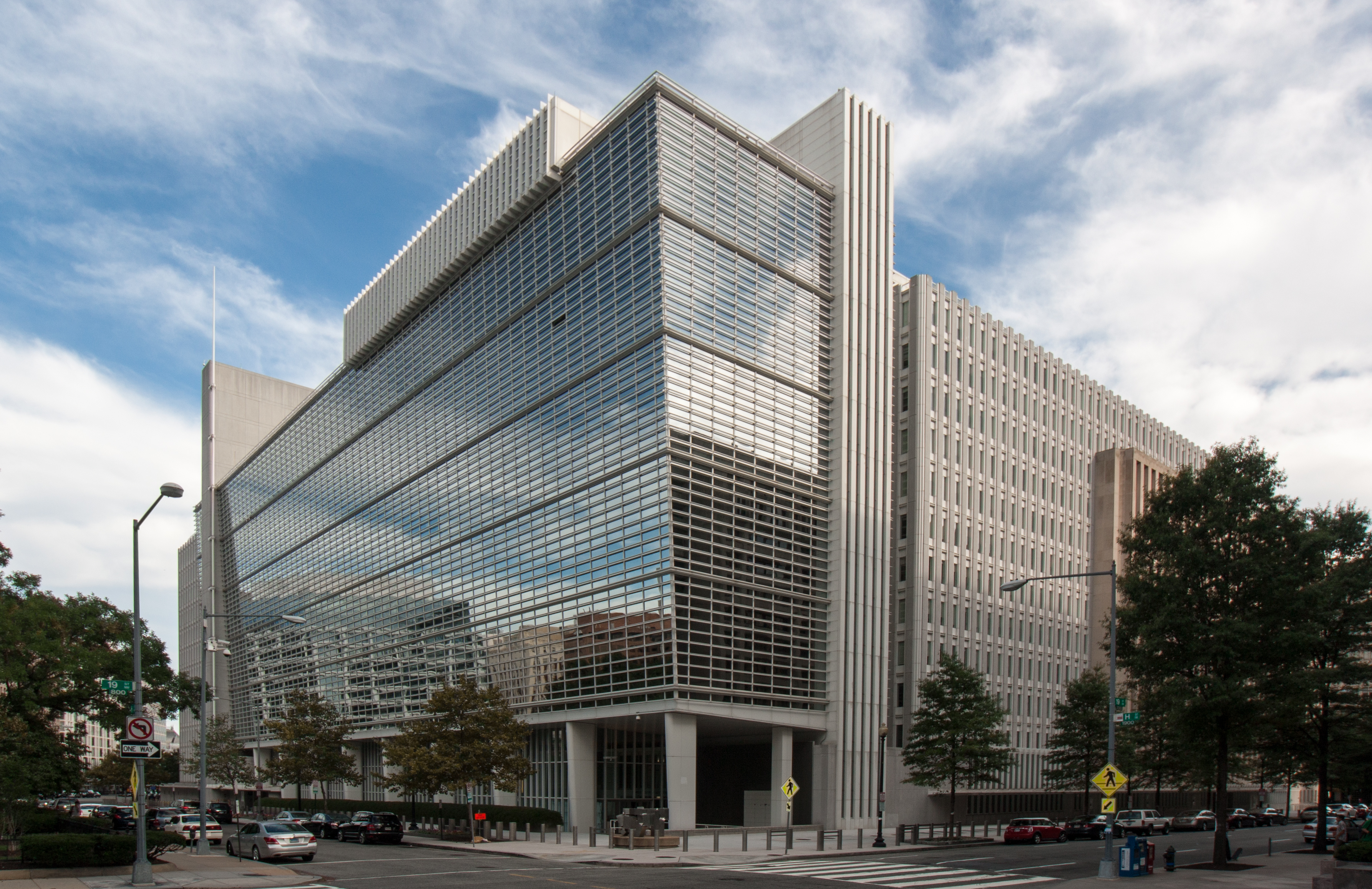 Washington DC, USA - September 14, 2014: The World Bank Headquarters Building on H street in Washington DC. The World Bank provides loans and technical assistance grants to developing countries for programs that reduce poverty.