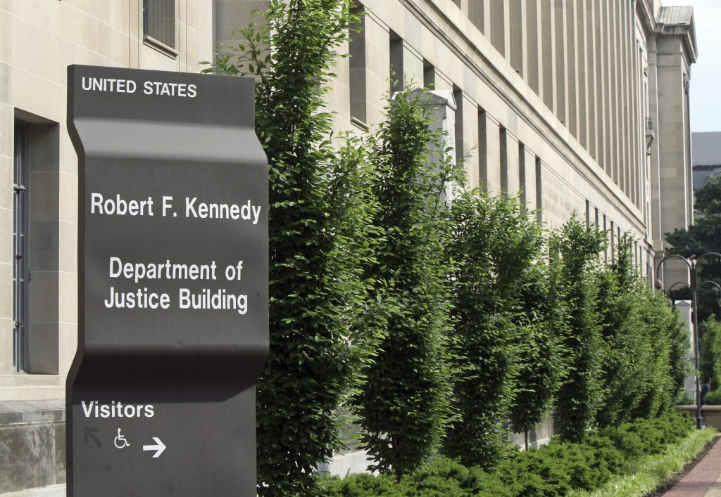 Government sign and office building, Washington DC, USA