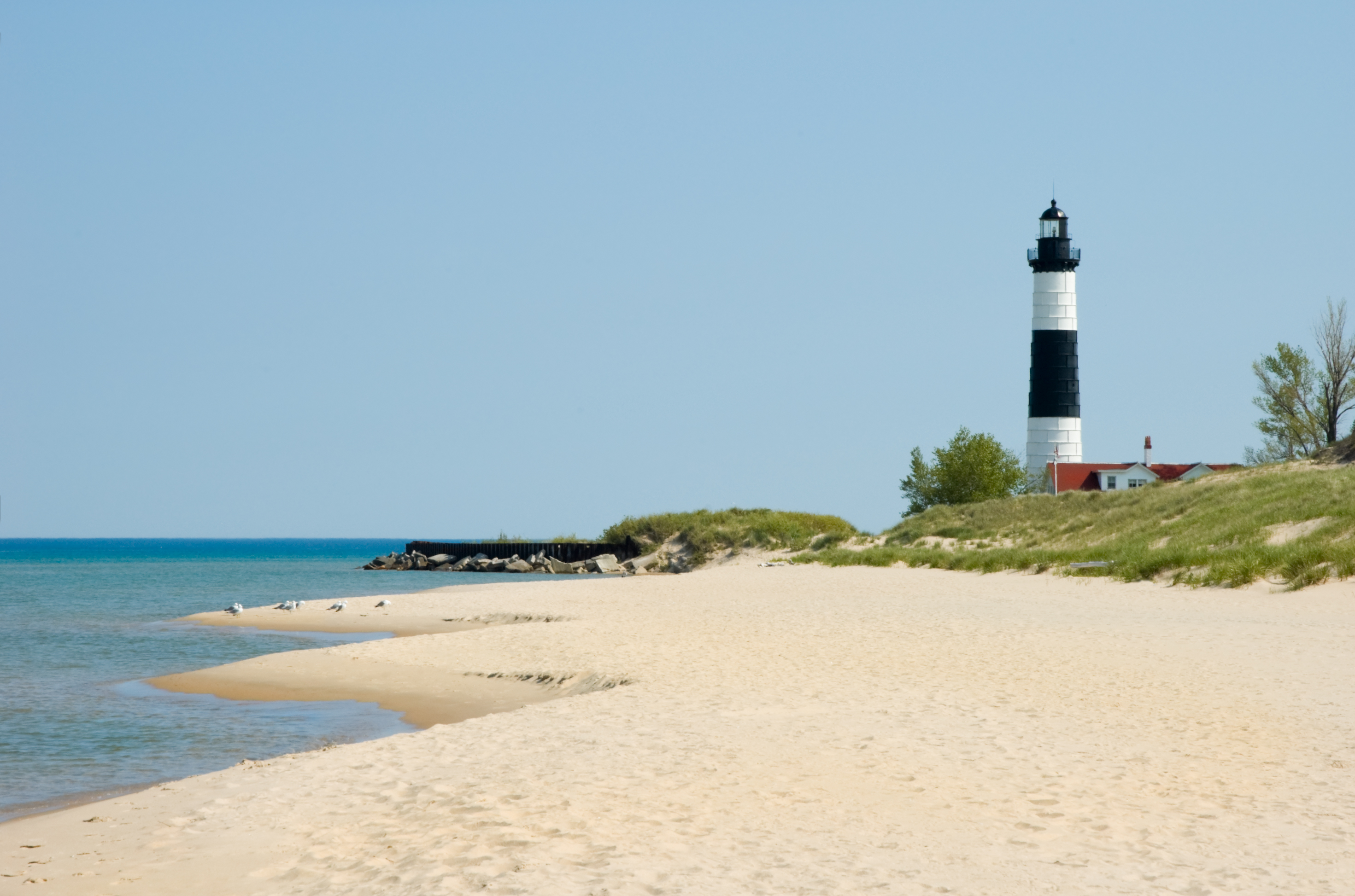 Lighthouse and Beach Sand Along Shoreline, Michigan Great Lakes Scenery